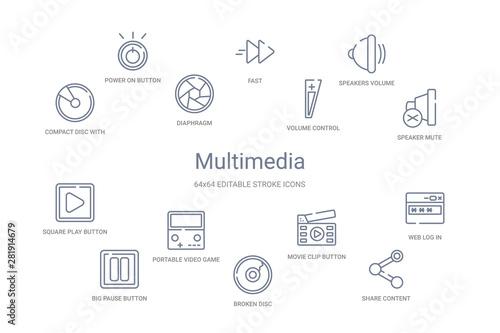 Fotografía  multimedia concept 14 outline icons