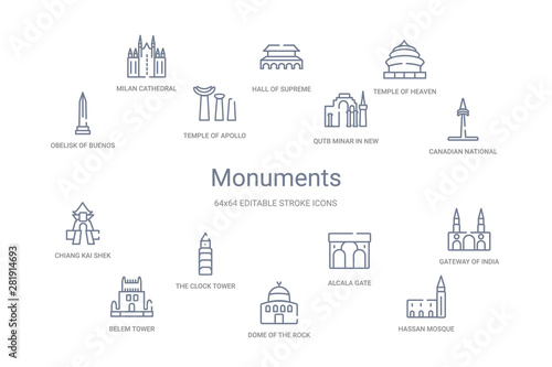 Stampa su Tela  monuments concept 14 outline icons