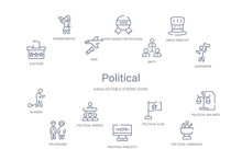 Political Concept 14 Outline Icons