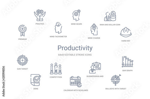Fotomural  productivity concept 14 outline icons