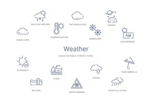 Weather Concept 14 Outline Icons