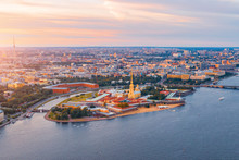 Aerial View Panoramic Of Peter And Paul Cathedral At Red Sunset, Walls Of Fortress, In Saint-Petersburg.