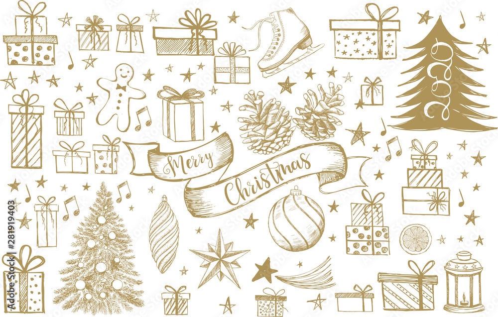 Fototapety, obrazy: Merry Christmas and New Year set. Hand drawn illustration. Christmas Doodle collection.