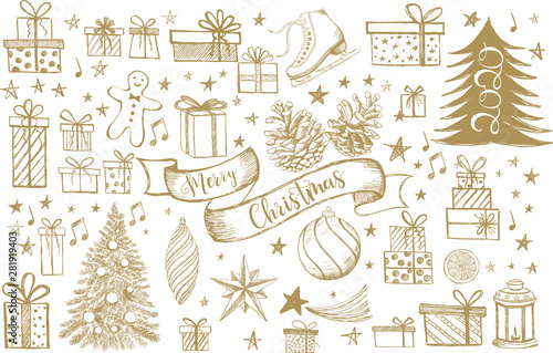 Obraz Merry Christmas and New Year set. Hand drawn illustration. Christmas Doodle collection. - fototapety do salonu