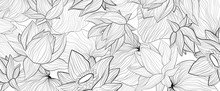 Set Of Vector White Background With Hand Draw Black Solhouettes Of Lotus Flower And Leaves