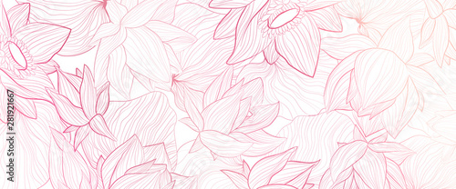 Set of vector white background with hand draw gold solhouettes of lotus flower and leaves. - 281921667