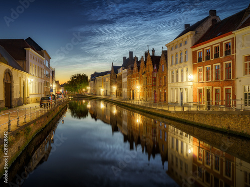 Bruges Noctilucent clouds (night shining clouds) at city Bruges (Brugge) old town in Belgium in the dusk, Europe