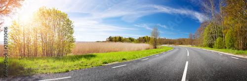 fototapeta na lodówkę Road panorama on sunny spring day
