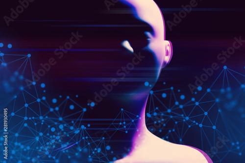 ai robot futuristic technology network server online