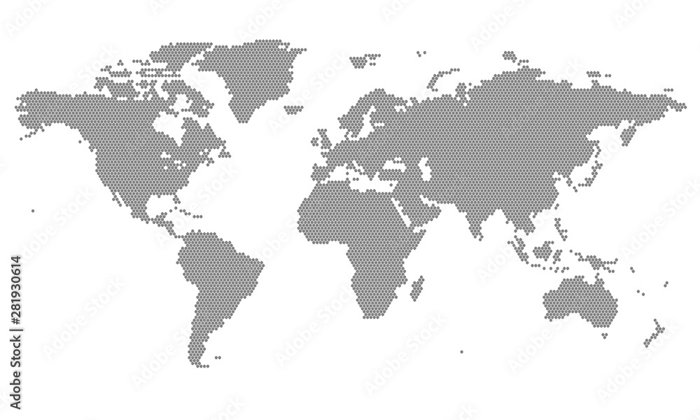 Fototapety, obrazy: Dotted World Map - grey