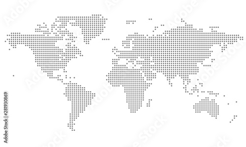 Fotografie, Obraz Dotted World Map - grey