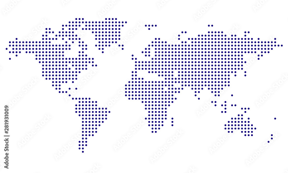 Fototapety, obrazy: Dotted World Map - blue