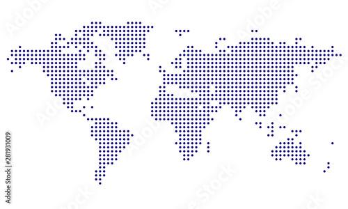 Dotted World Map - blue Wallpaper Mural