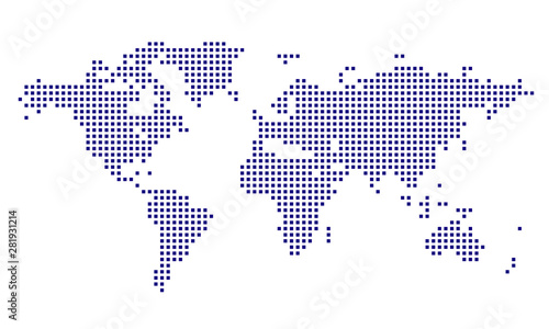 Dotted World Map - blue Tablou Canvas