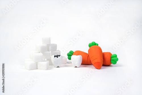 Fotografie, Obraz  Protect Oral Health Between Eat Vegetables and Sweet Dessert
