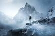 canvas print picture - Wanderer fotografiert Winterlandschaft