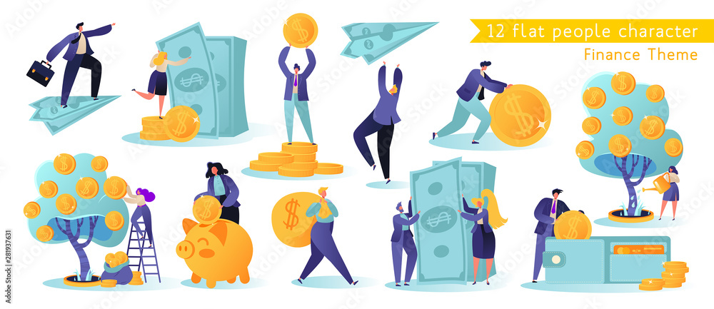Fototapeta Flat, сartoon, vector Illustration collection. Different successful people characters making money. Business and finance, saving money theme. Career, salary, earnings profit.