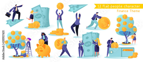 Flat, сartoon, vector Illustration collection. Different successful people characters making money. Business and finance, saving money theme. Career, salary, earnings profit.