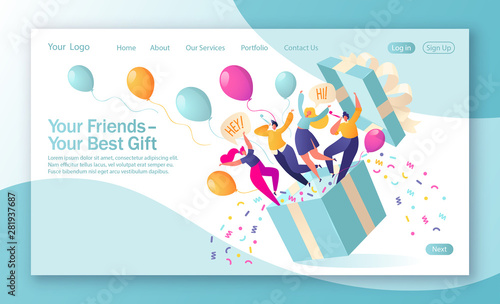 Concept of landing page on birthday celebrations theme Wallpaper Mural