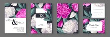Botanical Wedding Invitation Card. Template Design With White And Pink Peonies Flowers And Petals.  Modern, Realistic Style, Hand Drawn Illustration. Collection Of Save The Date And RSVP In Vector EPS