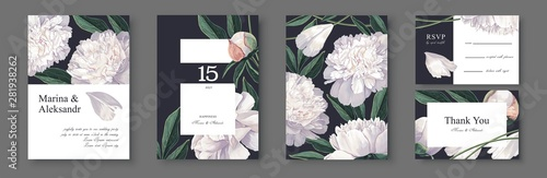 Fototapeta Botanical Wedding Invitation Card Template Design With White Peonies Flowers And Leaves Modern Realistic Style Hand Drawn Illustration