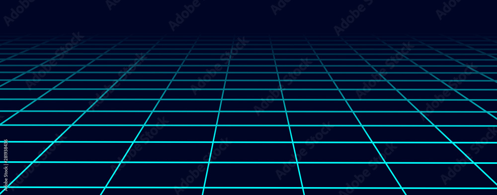 Fototapeta Perspective blue grid background. Abstract futuristic grid 1980s style. Vector illustration.