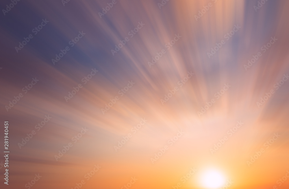 Fototapety, obrazy: Abstract Autumn sunset on a blue sky with beautifully illuminated clouds.