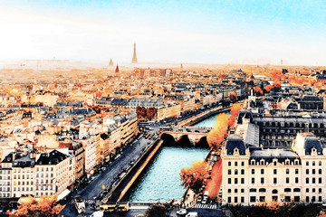 Obraz na Szkle Paryż Beautiful Digital Watercolor Painting of the Seine river at sunset in Paris, France. Autumn colors with Eiffel Tower in the background.