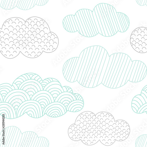 fototapeta na drzwi i meble Doodle clouds vector seamless pattern. Hand drawn graphic tileable background.