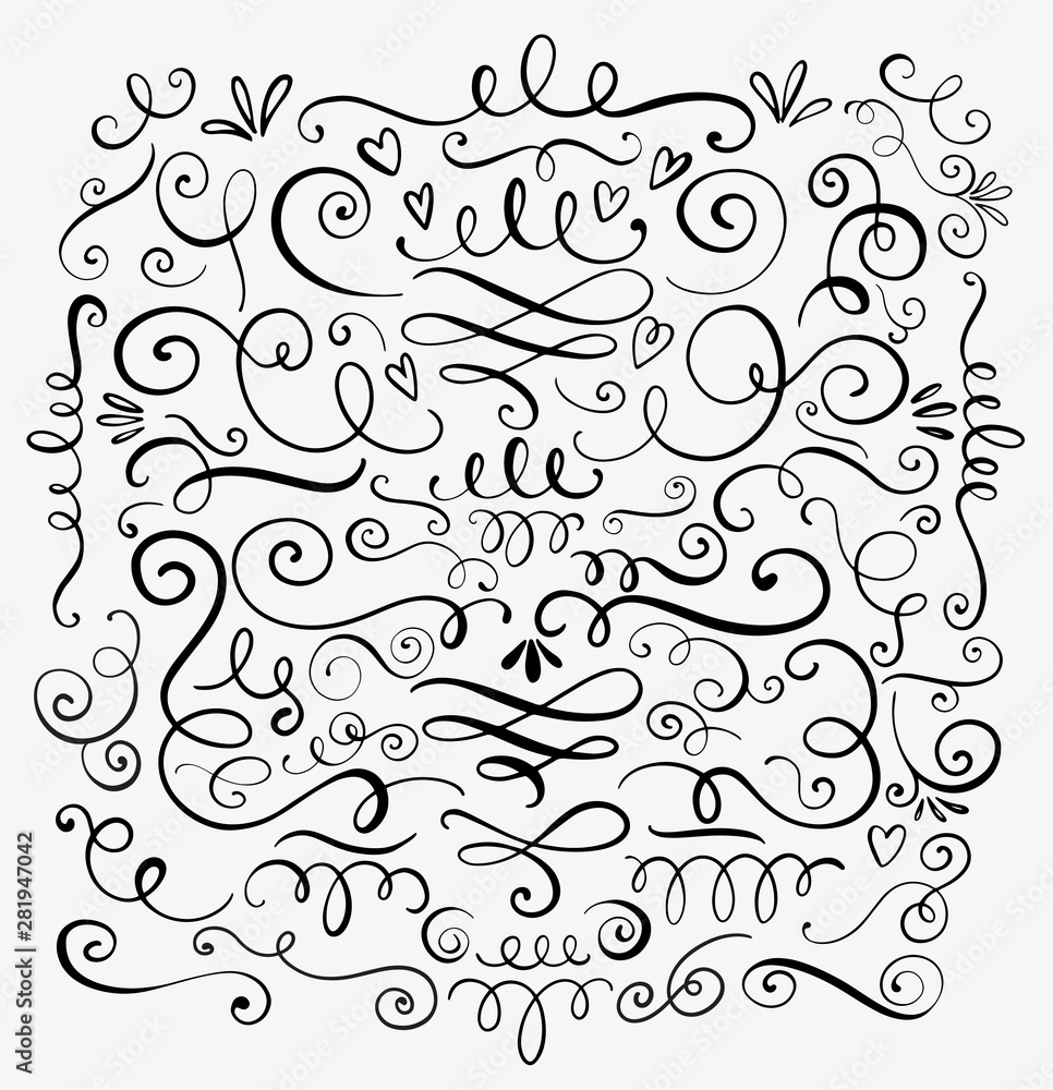 Fototapety, obrazy: Hand drawn decorative curls and swirls. A collection of vintage vector design elements. Ink illustration.