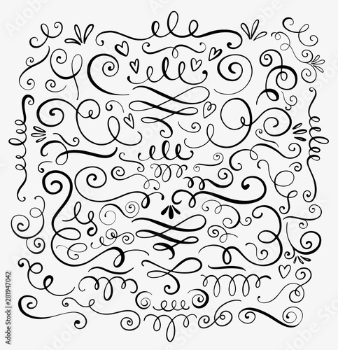 Hand drawn decorative curls and swirls. A collection of vintage vector design elements. Ink illustration. Wall mural