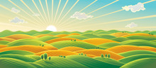 Panoramic Rural Landscape, Sunrise Over Fields And Hills
