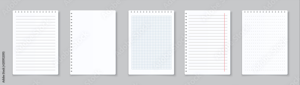 Fototapety, obrazy: Realistic lined notepapers. Blank gridded notebook papers for homework and exercises. Vector pads paper sheets with lines and squares for memo
