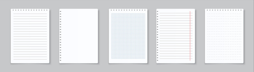 Realistic lined notepapers. Blank gridded notebook papers for homework and exercises. Vector pads paper sheets with lines and squares for memo
