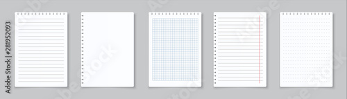 Obraz Realistic lined notepapers. Blank gridded notebook papers for homework and exercises. Vector pads paper sheets with lines and squares for memo - fototapety do salonu