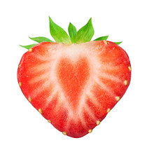 Half Of Strawberry Isolated On...