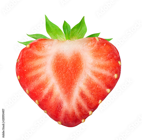 Fotografía  Half of strawberry isolated on white
