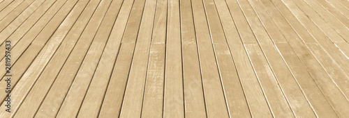 Fotografia  Wood floor texture background in natural light yellow creme cream beige brown co