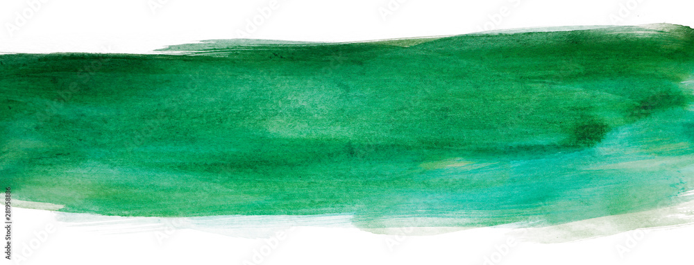Fototapety, obrazy: Watercolor green strip with paper texture, watercolor hand drawing multilayer. Bar, band horizontal element background for design, greeting card, web design and printing.
