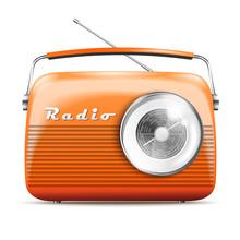 3d Realistic Orange Retro Radi...