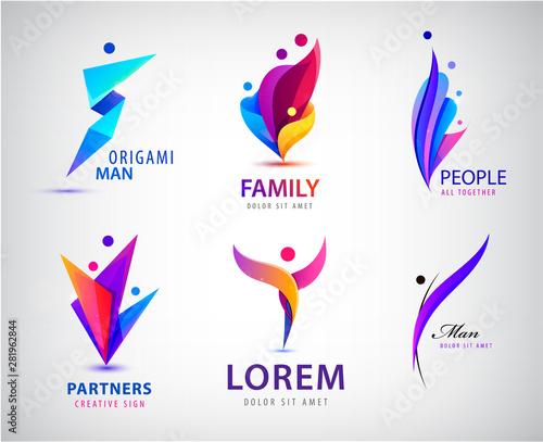 Vector set of men, people group, family logos Fototapete