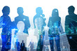 Double exposure of business teamwork and network concept