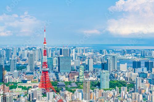Poster Bleu 東京の都市風景 Tokyo city skyline , Japan.