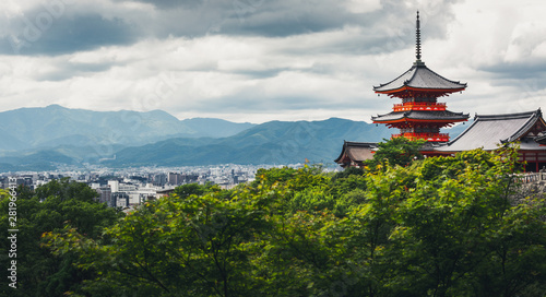 Poster Kyoto Kyoto city and red pagoda in summer