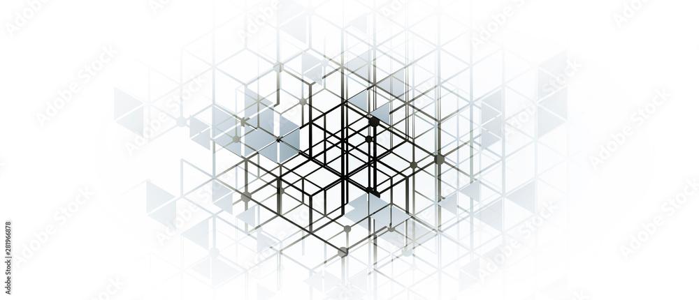 Fototapety, obrazy: Abstract hexagon background. Technology poligonal design. Digital futuristic minimalism