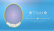 Template Background For Mother's Day Thailand With Modern Line Thai Pattern Traditional Concept And Frame Beautiful Jasmine Flower