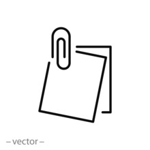 Note Paper, Paperclip Icon, Clip Paper Thin Line Symbol On White Background - Editable Stroke Vector Illustration Eps 10