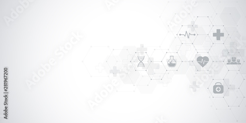 Fotografía  Abstract medical background with flat icons and symbols