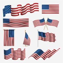 Waving American Flag Set, Prid...