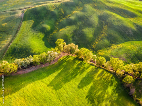 Aerial drone landscape of famous Tuscany hills, Italy spring fields sunset Asciano Siena Firenze